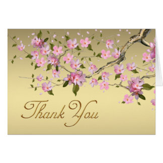 Gold and Pink Japanese Cherry Blossom Thank You Card