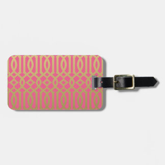 Gold and Pink Modern Trellis Pattern Bag Tag