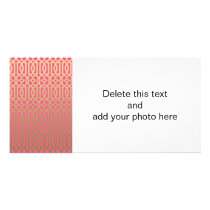 Gold and Pink Modern Trellis Pattern Card