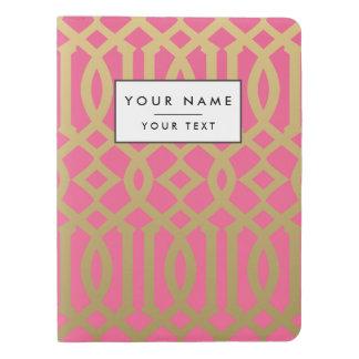 Gold and Pink Modern Trellis Pattern Extra Large Moleskine Notebook