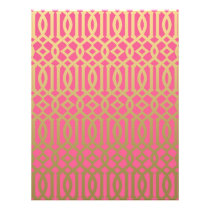 Gold and Pink Modern Trellis Pattern Flyer