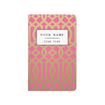 Gold and Pink Modern Trellis Pattern Journal