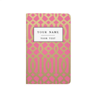 Gold and Pink Modern Trellis Pattern Journal