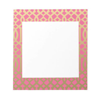 Gold and Pink Modern Trellis Pattern Notepad