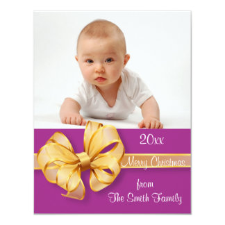 "Gold and Pink Photo Christmas Card 4.25"" X 5.5"" Invitation Card"