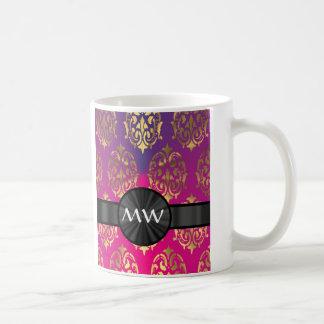 Gold and pink purple damask coffee mug