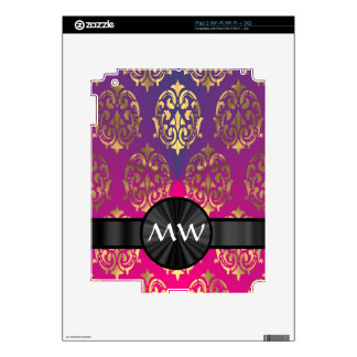 Gold and pink purple damask decal for iPad 2