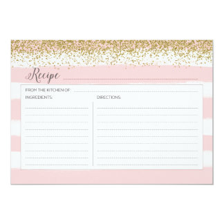 Gold and Pink Recipe Card