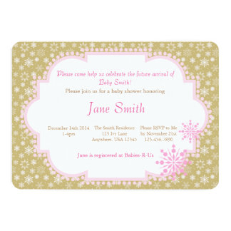 """Gold and Pink Snowflake baby Shower Invitation 5"""" X 7"""" Invitation Card"""
