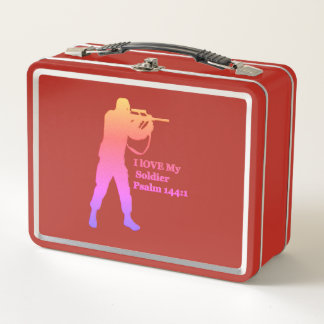 Gold and pink solder snipper metal lunch box
