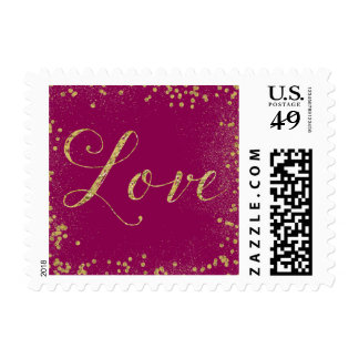 Gold and Pink Sparkle Confetti Dots Love Postage