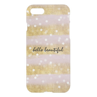 Gold and Pink Stripes Bokeh Confetti iPhone 7 Case