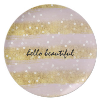 Gold and Pink Stripes Bokeh Confetti Melamine Plate
