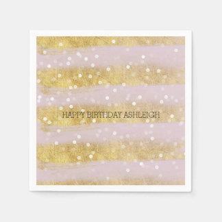 Gold and Pink Stripes Bokeh Confetti Paper Napkin