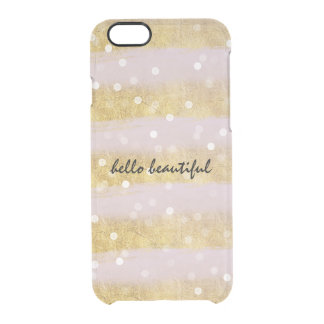 Gold and Pink Stripes Bokeh Confetti Uncommon Clearly™ Deflector iPhone 6 Case
