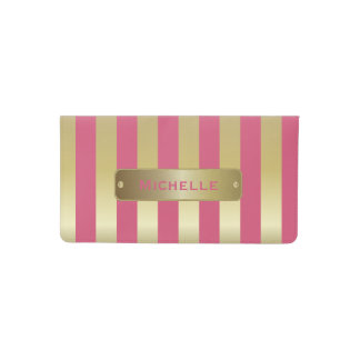 Gold and Pink Stripes | DIY Background Color Checkbook Cover