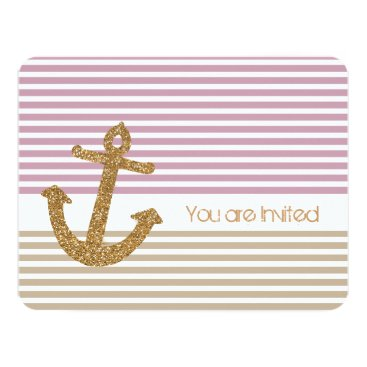 Beach Themed Gold and Pink Stripes Nautical Baby Shower Card