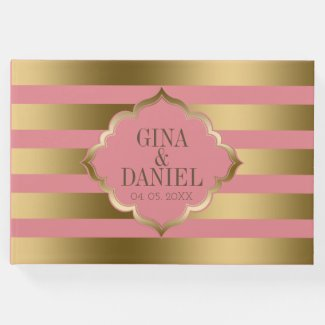 Gold And Pink Stripes Pattern