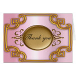 Gold and Pink Thank you Card Add your own text Greeting Cards