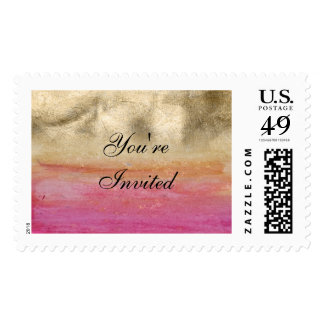 Gold and pink watercolor wedding design postage