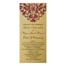 gold and pink Wedding program