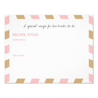Gold and Pink World Traveler Airmail RECIPE 4.25x5.5 Paper Invitation Card
