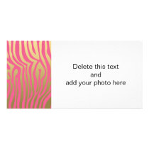 Gold and Pink Zebra Stripes Pattern Card