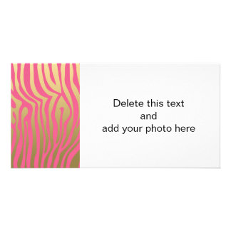 Gold and Pink Zebra Stripes Pattern Card
