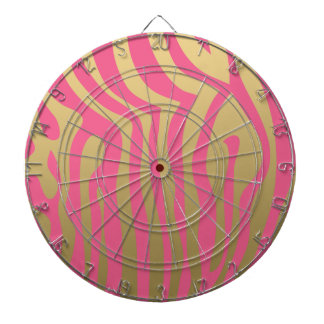 Gold and Pink Zebra Stripes Pattern Dartboard With Darts