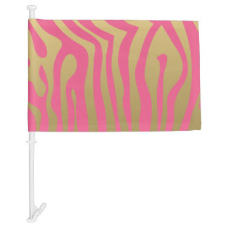 Gold and Pink Zebra Stripes Pattern Car Flag