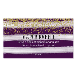 Gold and Plum Blue Baby Shower Diaper Raffle Business Card