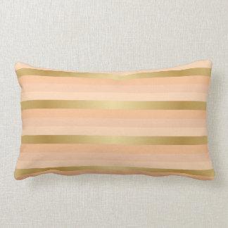 Gold and Pretty Peach Stripe Pattern Lumbar Pillow