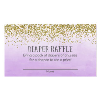 Gold and Purple Baby Shower Diaper Raffle Tickets Business Card