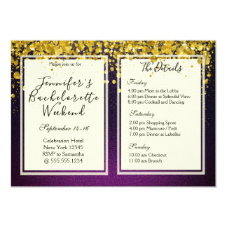 Gold and Purple Bachelorette Weekend Party Invitation
