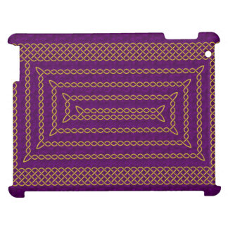 Gold And Purple Celtic Rectangular Spiral iPad Cover