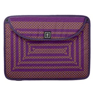 Gold And Purple Celtic Rectangular Spiral MacBook Pro Sleeve