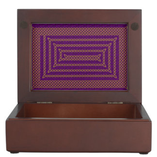 Gold And Purple Celtic Rectangular Spiral Memory Box