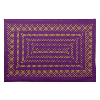 Gold And Purple Celtic Rectangular Spiral Placemats