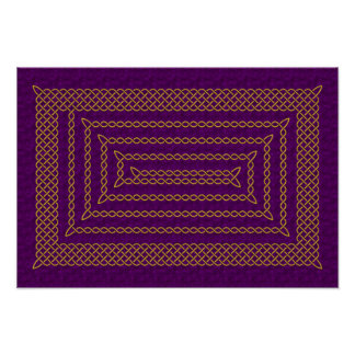 Gold And Purple Celtic Rectangular Spiral Poster