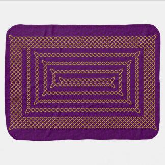 Gold And Purple Celtic Rectangular Spiral Swaddle Blanket