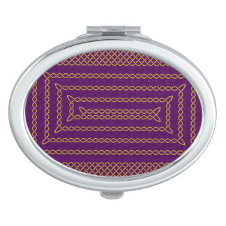Gold And Purple Celtic Rectangular Spiral Travel Mirrors