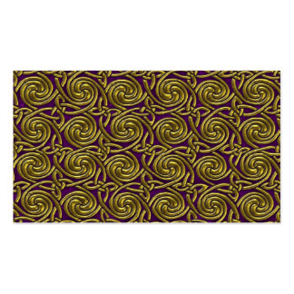 Gold And Purple Celtic Spiral Knots Pattern Business Card Templates
