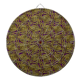 Gold And Purple Celtic Spiral Knots Pattern Dartboard