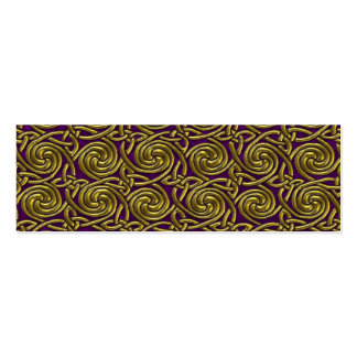 Gold And Purple Celtic Spiral Knots Pattern Mini Business Card