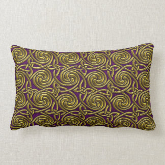 Gold And Purple Celtic Spiral Knots Pattern Throw Pillows