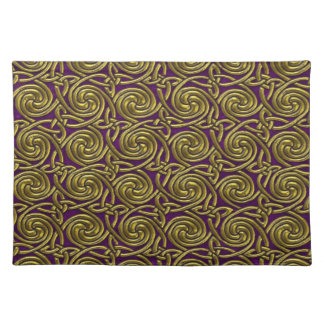 Gold And Purple Celtic Spiral Knots Pattern Place Mats