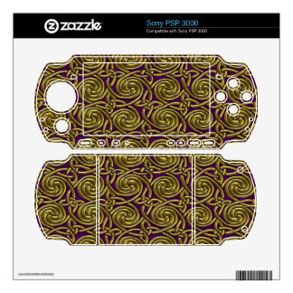 Gold And Purple Celtic Spiral Knots Pattern Decals For The PSP 3000