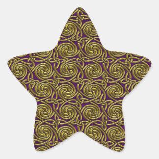 Gold And Purple Celtic Spiral Knots Pattern Sticker