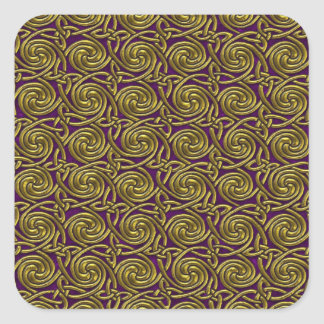 Gold And Purple Celtic Spiral Knots Pattern Square Stickers