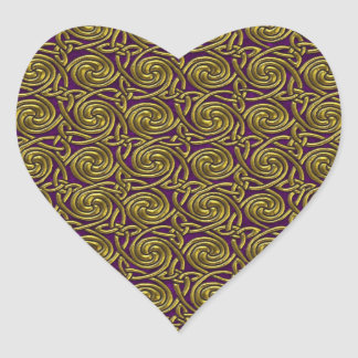 Gold And Purple Celtic Spiral Knots Pattern Heart Stickers